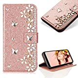Case for Samsung Galaxy A6 Plus 2018,Cistor Luxury 3D Handmade Diamond Crystal Pearl Glitter Flower Butterfly Wallet Case for Samsung Galaxy A6 Plus 2018,PU Leather Stand Flip Case with Card Slot Magnetic Closure,Rose Gold