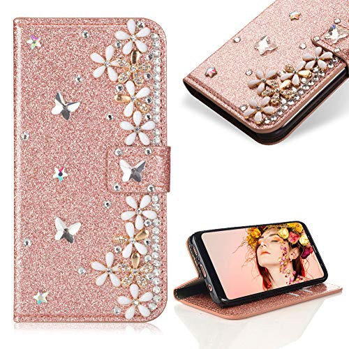 Case for Galaxy A8 Plus 2018,Cistor Luxury 3D Diamond Crystal Pearl Glitter Flower Butterfly Wallet Case for Samsung Galaxy A8 Plus 2018,PU Leather Stand Case with Card Slot Magnetic Closure,Rose Gold