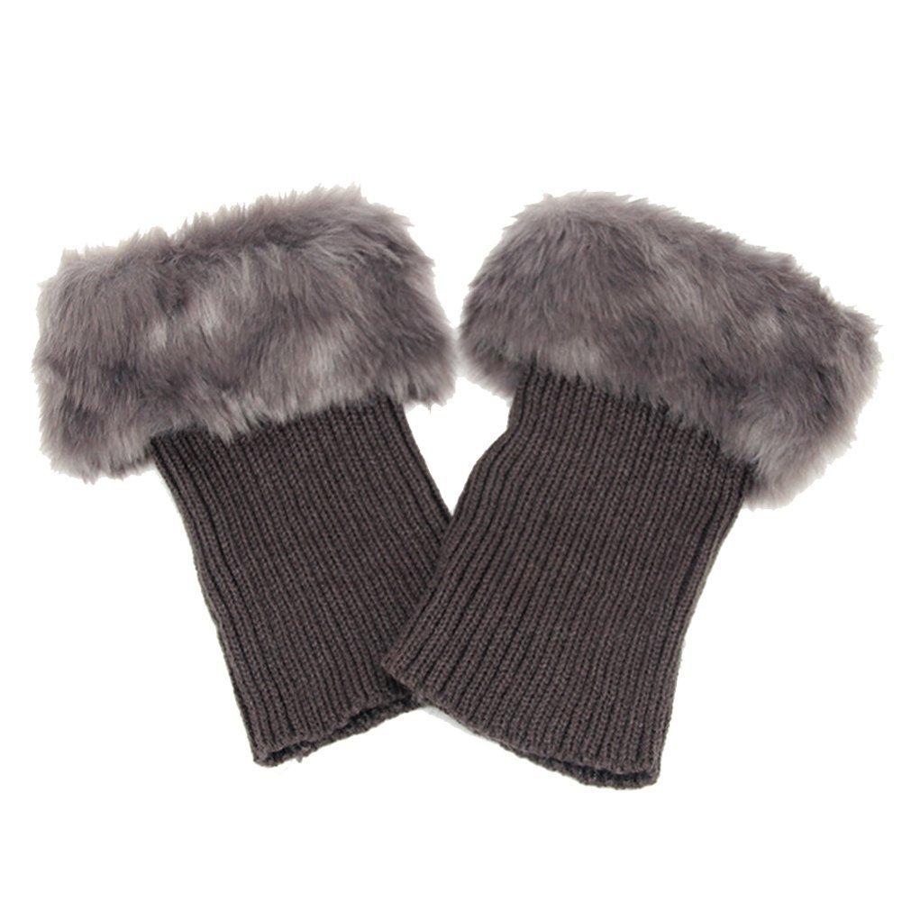 Scaldamuscoli da caviglia invernali, da donna, alla moda, lavorati all'uncinetto, maniche da stivali Deep Grey lavorati all' uncinetto Haifly