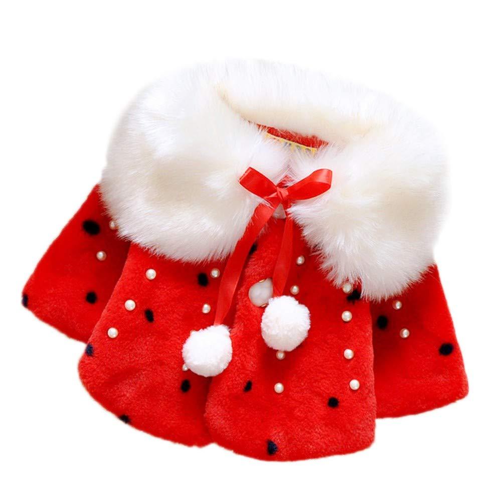 BOBORA Vêtements Bébé Filles Hiver, Bébé Filles Manteau en Fausse Fourrure Veste Chaud d'hiver Cape Blousons pour 0-4Ans