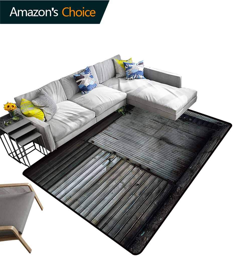TableCoversHome Industrial Geometric Area Rug Dorm, Zinc Door Old Pattern Printing Carpet, Durable Carpet Area Rug - Living Dinning Room Bedroom Rugs and Carpets (2'x 6') by TableCoversHome