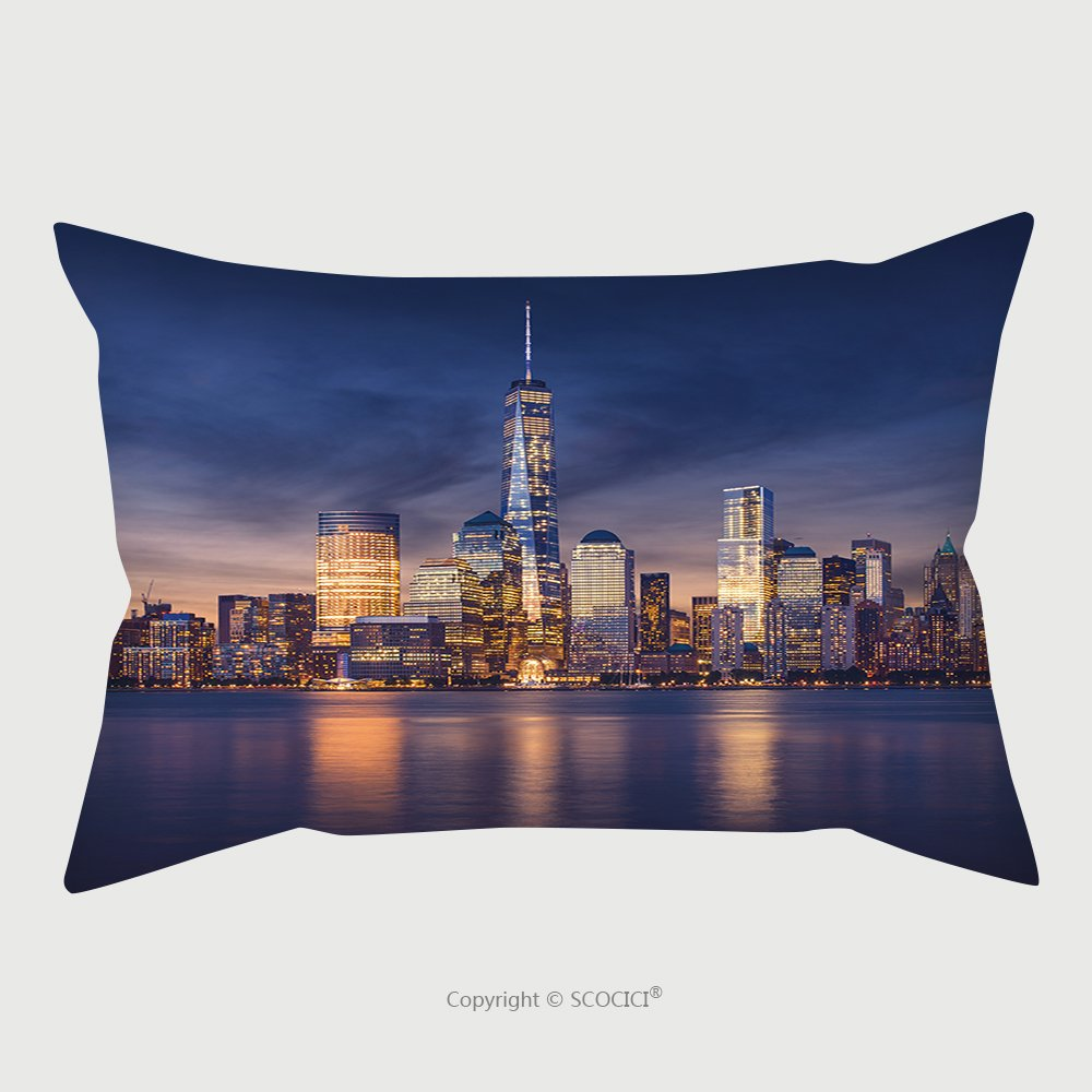Custom Satin Pillowcase Protector New York City Manhattan After Sunset Beautiful Cityscape_95278584 Pillow Case Covers Decorative
