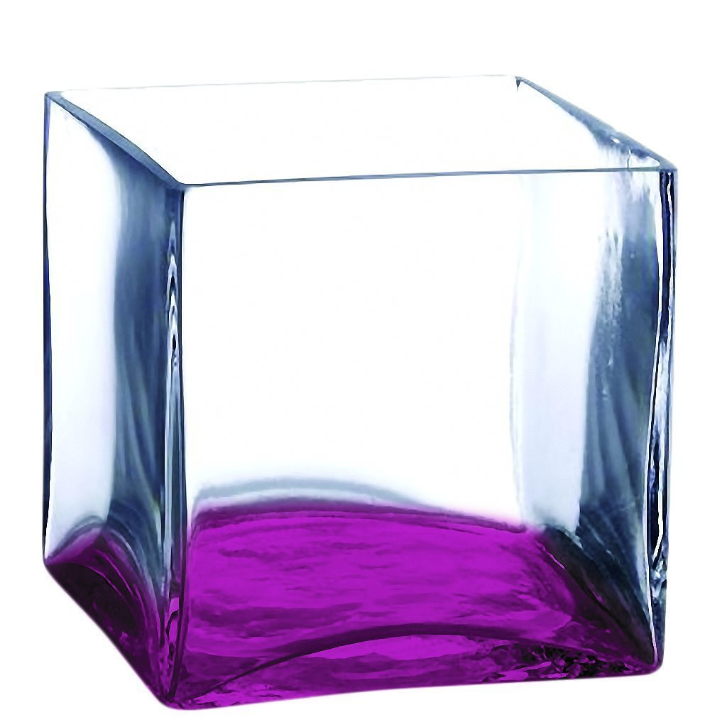 cheap Square Glass Vase - 10 Inch Pink Color Cube Center Piece - Half Color Pink - Additional Vibrant Colors Available by TableTop King