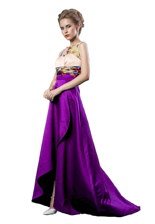 Fanhao Women's O-neck Lace Print Splicing Asymmetrical Evening Prom Dress