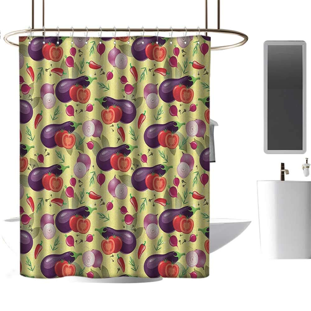 Qenuan Modern Luxurious Shower Curtain Eggplant,Eggplant Tomato Relish Onion Going Green Eating Organic Tasty Preserve Nature, Multicolor,European Style Decoration Bathroom Curtains 47''x64'' by Qenuan
