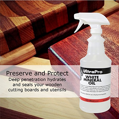 32 oz. Spray Bottle - Food Grade Mineral Oil for Stainless Steel, Cutting Boards and Butcher Blocks, NSF by UltraSource (Image #1)