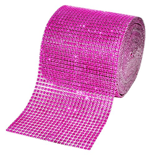 Hot Pink Bling - Mandala Crafts Faux Diamond Bling Wrap, Faux Rhinestone Crystal Mesh Ribbon Roll for Wedding, Party, Centerpiece, Cake, Vase Sparkling Decoration (4.75 Inches 24 Rows 10 Yards, Hot Pink)