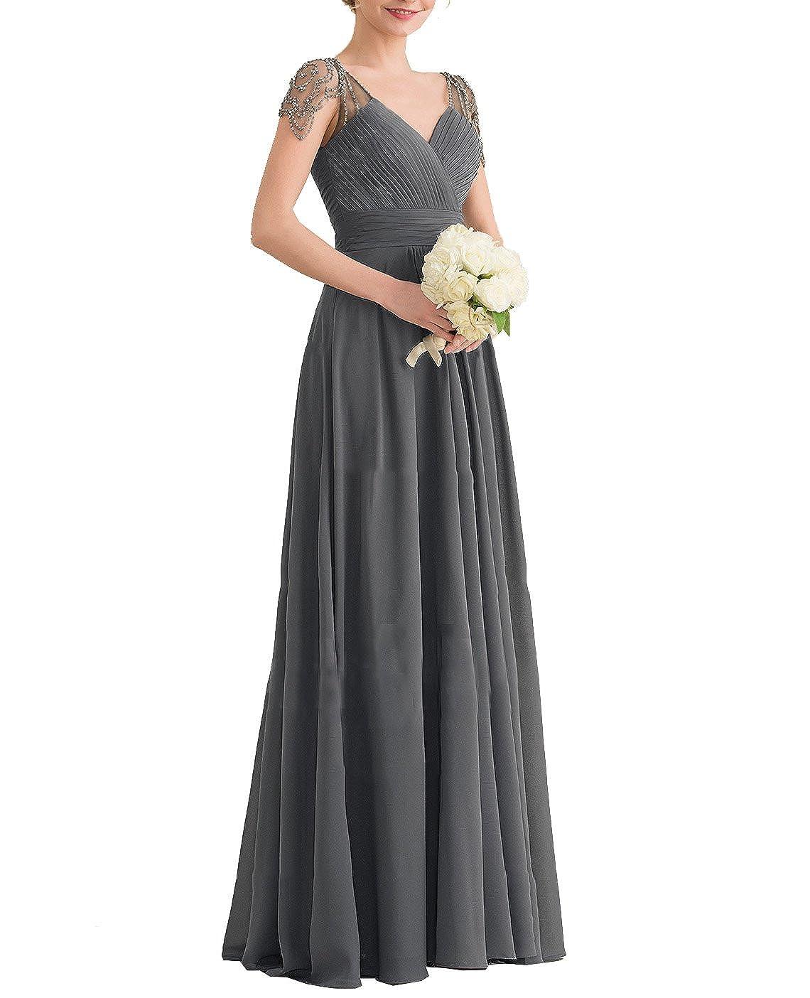Nicefashion V Neck Beaded Cap Sleeves Chiffon Long Evening Bridesmaid Dress
