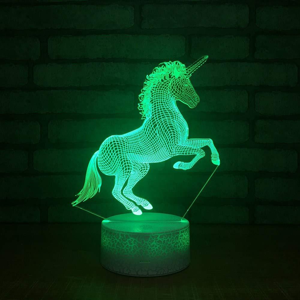 1 PACK, 3D optische Täuschung Nachtlicht Einhorn Pferd LED Tisch Schreibtischlampe 7 Farbe automatisch wechselnden USB-Ladegerät Powerotfor Baby Schlafzimmer Dekoration Kinder Geschenk
