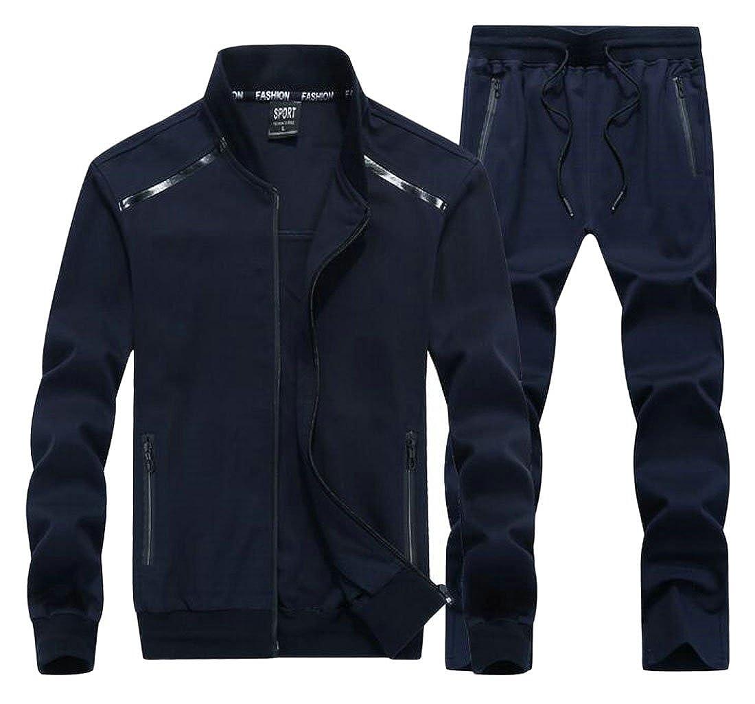 Lutratocro Mens Long Sleeve Sport Big and Tall Sportwear Sweatsuit Coat Casual Tracksuit Set Dark Blue 4XL