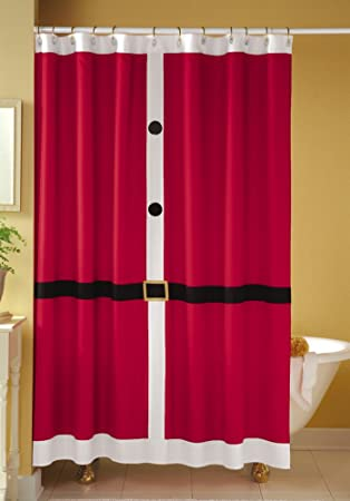 Amazon Santa Suit Christmas Bathroom Shower Curtain Home Kitchen
