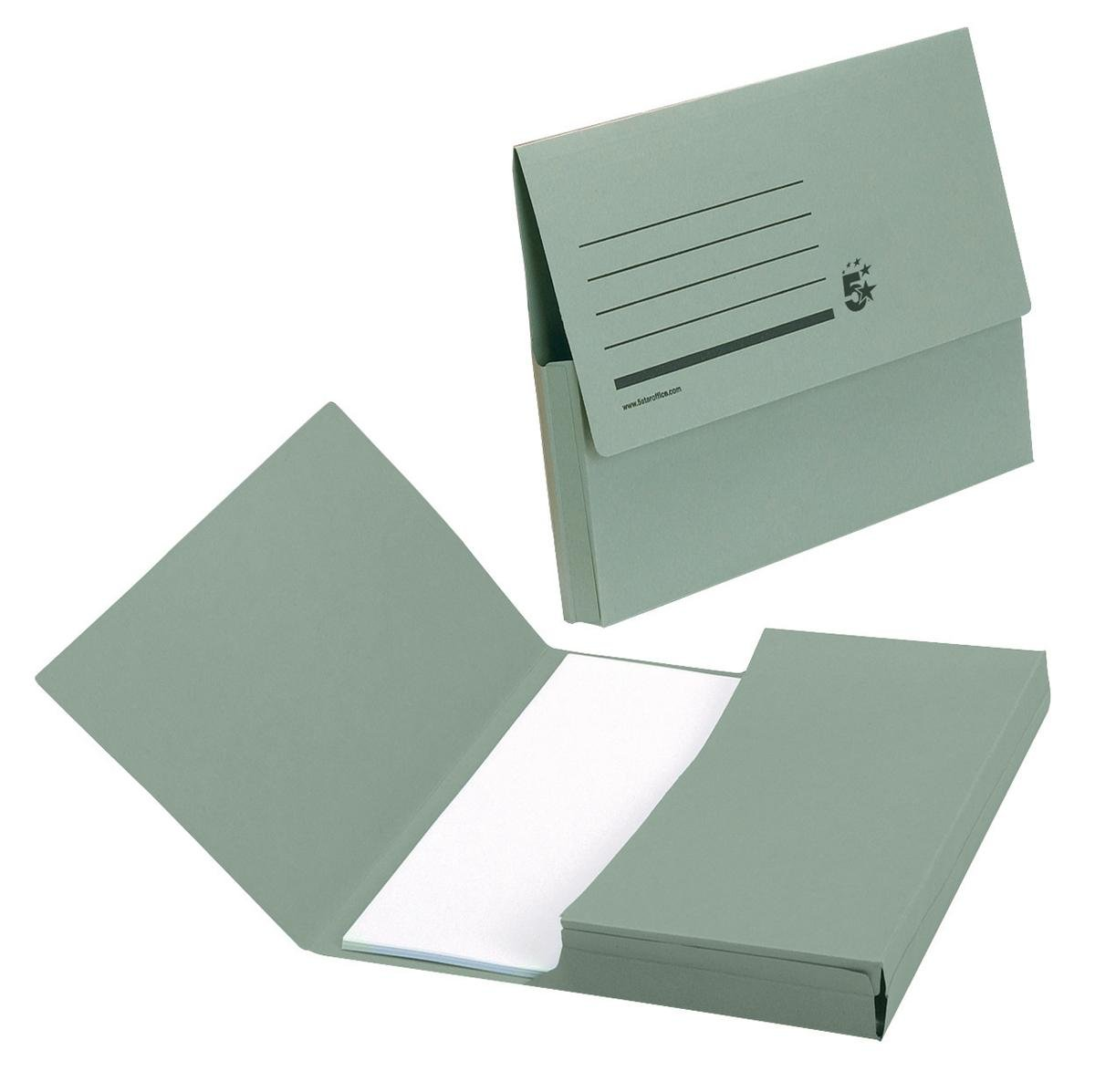5 Star Document Wallet Half Flap 285gsm Capacity 32mm Foolscap Green Pack of 50
