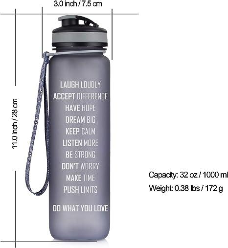 Artoid Fashion Motivational Time Marked Water Bottle 500 1000 1500 Ml Lightweight Sports Bottle Tritan Bottle Bpa Free Leak Proof Grey 500ml Sport Freizeit