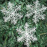 White Snowflake Ornaments Christmas Tree Decorations Home Festival Decor Set of 30