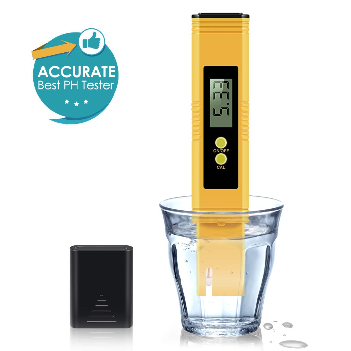 Digital PH Meter, PH Meter 0.01 PH High Accuracy Water Quality Tester with 0-13 PH Measurement Range for Household Drinking, Pool and Aquarium Water PH Tester Design