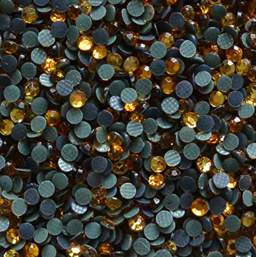 Sparkle Nation 3mm (10ss) Hot Fix Rhinestones 40 Gross Approx 5760 Stones by Weight (Topaz Gold) ()