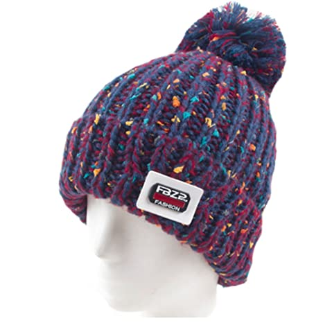 7e531025511 Image Unavailable. Image not available for. Color  Warm Beanie Hat Skully  Cap Ski Snow Hat Winter Knit Hats for Girls ...