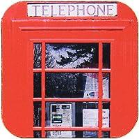 3dRose cst_113141_1 British Red Telephone Box Photo UK Vintage London United Kingdom Britain Travel Souvenir Photography-Soft Coasters, Set of 4