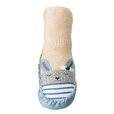 hibote Cartoon Toddler Enfants Bébé Anti-dérapant Sock Chaussures Bottes Pantoufle Chaussettes pour 0-30 mois Bleu 0-10 Mois