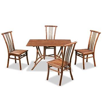 Vidaxl Mobilier De Salle à Manger Bambou 5 Pcs Ensemble Table Et