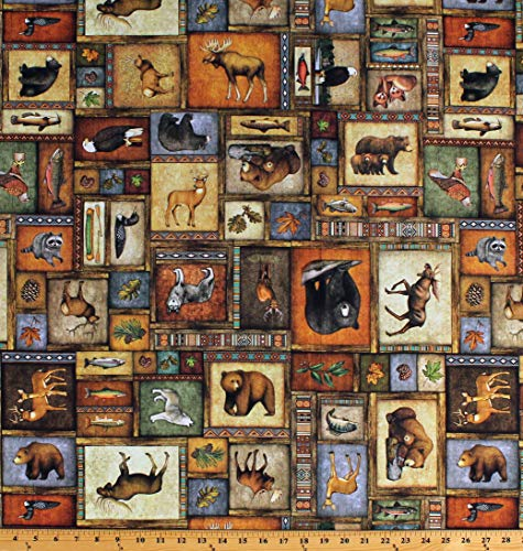 Moose Trail Lodge - Cotton Northwoods Animals Wildlife Collage Deer Bears Moose Wolves Hunting Fishing Lodge Cabin Timberland Trail Cotton Fabric Print by The Yard (D673.59)