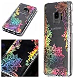 For Samsung Galaxy S9 Case Clear Silicone Phone Cover and Screen Protector, OYIME Creative Plating Design with Bright Pattern Skin Ultra Thin Slim Soft Silicone Rubber Glitter Brilliant Transparent Protective Back Cover Anti-Scratch Drop Protection Shockproof Bumper Cases - Flower