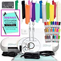 Silhouette Cameo Mini (Portrait) Starter Bundle with 12 Oracal 651 Sheets, Transfer Paper, Guide, 24 Sketch Pens, and More
