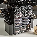 360-degree rotating makeup organizer transparent acrylic lipstick cosmetics storage rack-C