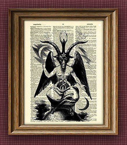 BAPHOMET GOAT DEVIL print over an upcycled vintage dictionary page book art