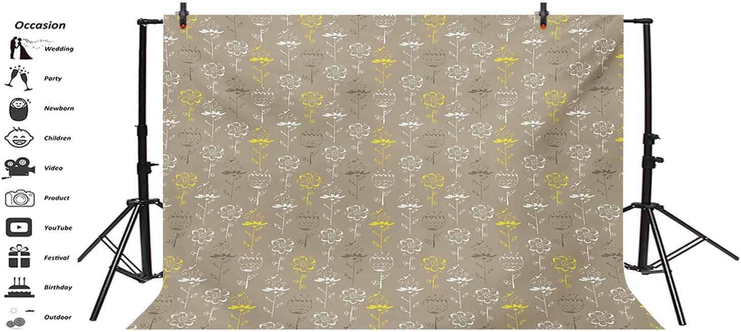 Grey and Yellow 10x8 FT Vinyl Photography Background Backdrops,Hand Drawn Sketchy Tulips Flowers Leaves Butterflies Art Image Background for Graduation Prom Dance Decor Photo Booth Studio Prop Banner
