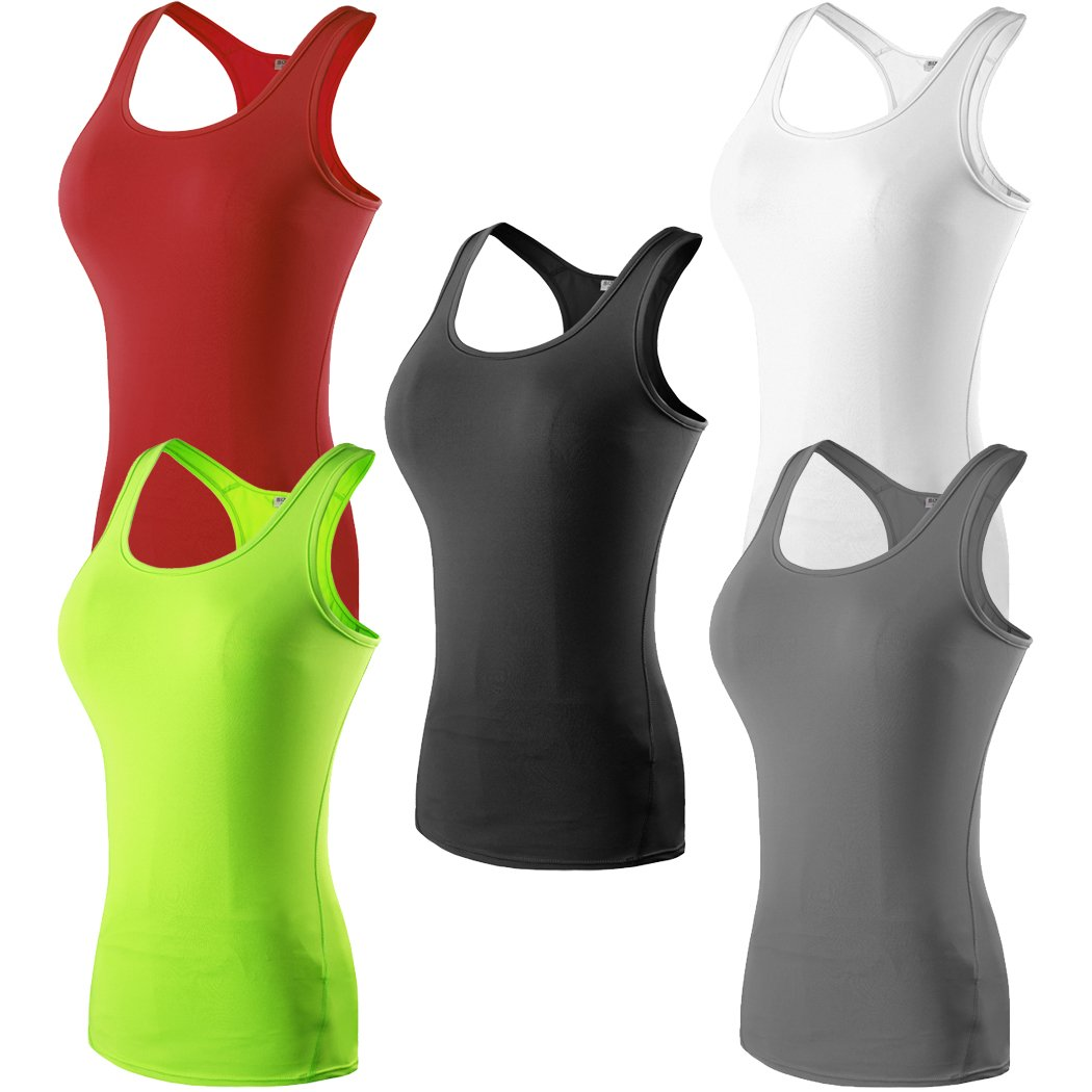 HOP SPORT Women's Sleeveless Quick Dry Compression Workout Yoga Body Building Tank Tops Summer T-Shirt 2002-5Pack-S