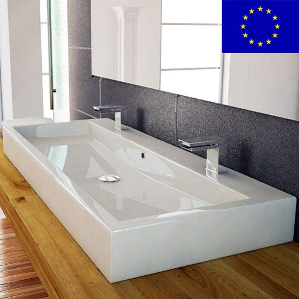 Design Waschbecken 100cm zur Wandmontage oder als ... | {Waschbecken modernes design 33}