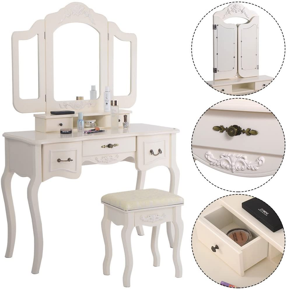Azadx Makeup Table Set,Tri-Folding Mirror Vanity Table Set Dressing Table Organizers with Cushioned Stool Bedroom (White-5 Drawer)