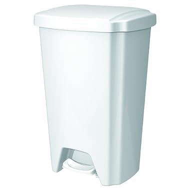 Hefty HFT-2198000-4 Step-On Wastebasket, White, 12.5 gal Capacity