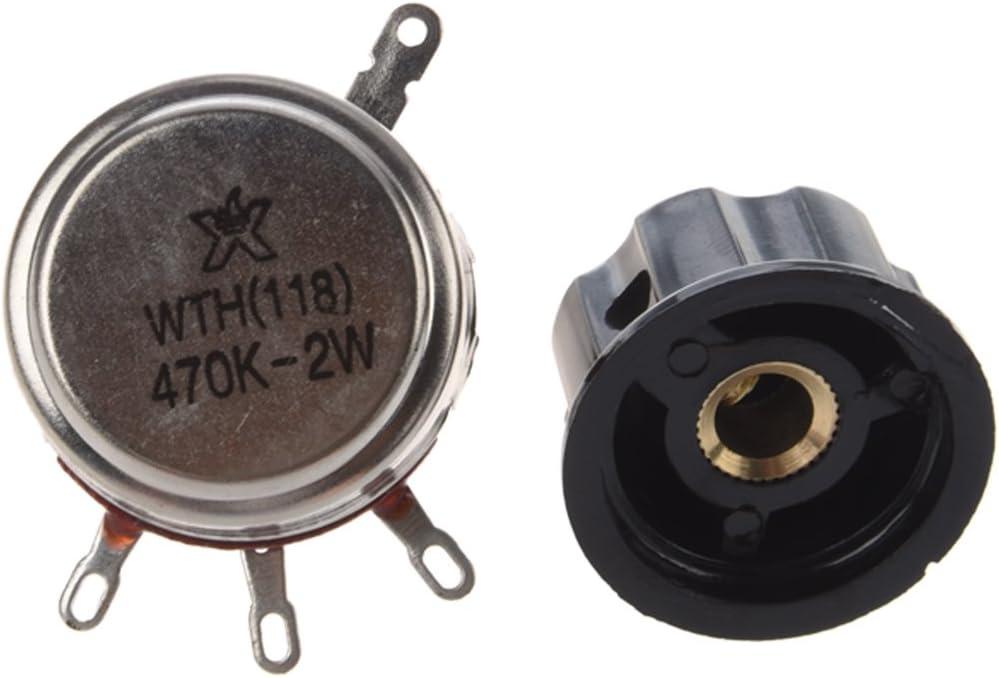Mifive 6mm Diametre darbre 470K Ohm 2W Potentiometre de pots avec bouton