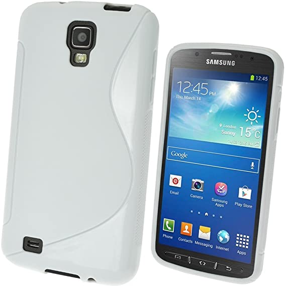 igadgitz S Line Blanco Case TPU Gel Funda Cover Carcasa para Samsung Galaxy S4 IV I9500 I9505 Android Smartphone + Protector de pantalla