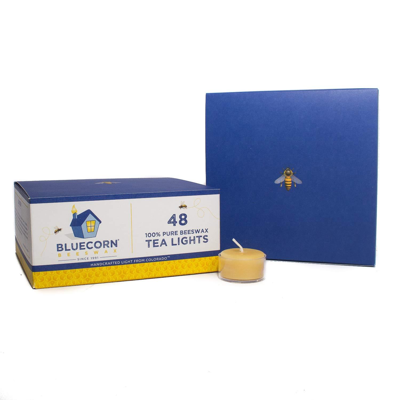 Bluecorn Beeswax 100% Pure Beeswax Tea Lights (48 case, Raw)