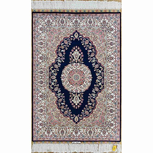 Medallion Silk Rug - Yilong 2'x3' Hand Knotted Persian Silk Rug Oriental Tabriz Classic Medallion Handmade Home Kitchen Carpet