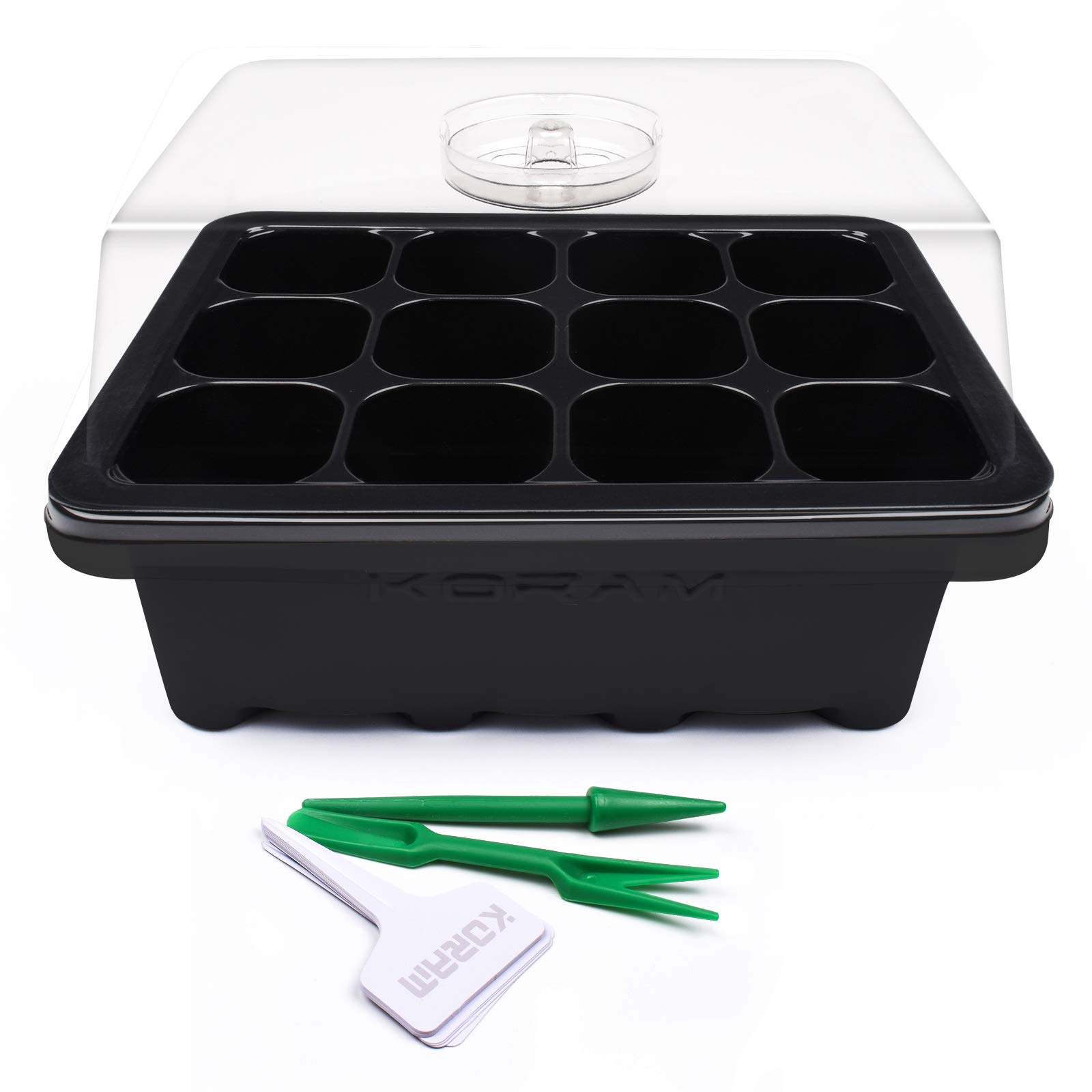 KORAM 10 Sets Seed Starter Tray 120 Cells Seed Tray Plant Germination Kit Garden Seed Starting Tray with Dome and Base Plus Plant Tags Hand Tool Kit, Black - Garden Gift by KORAM