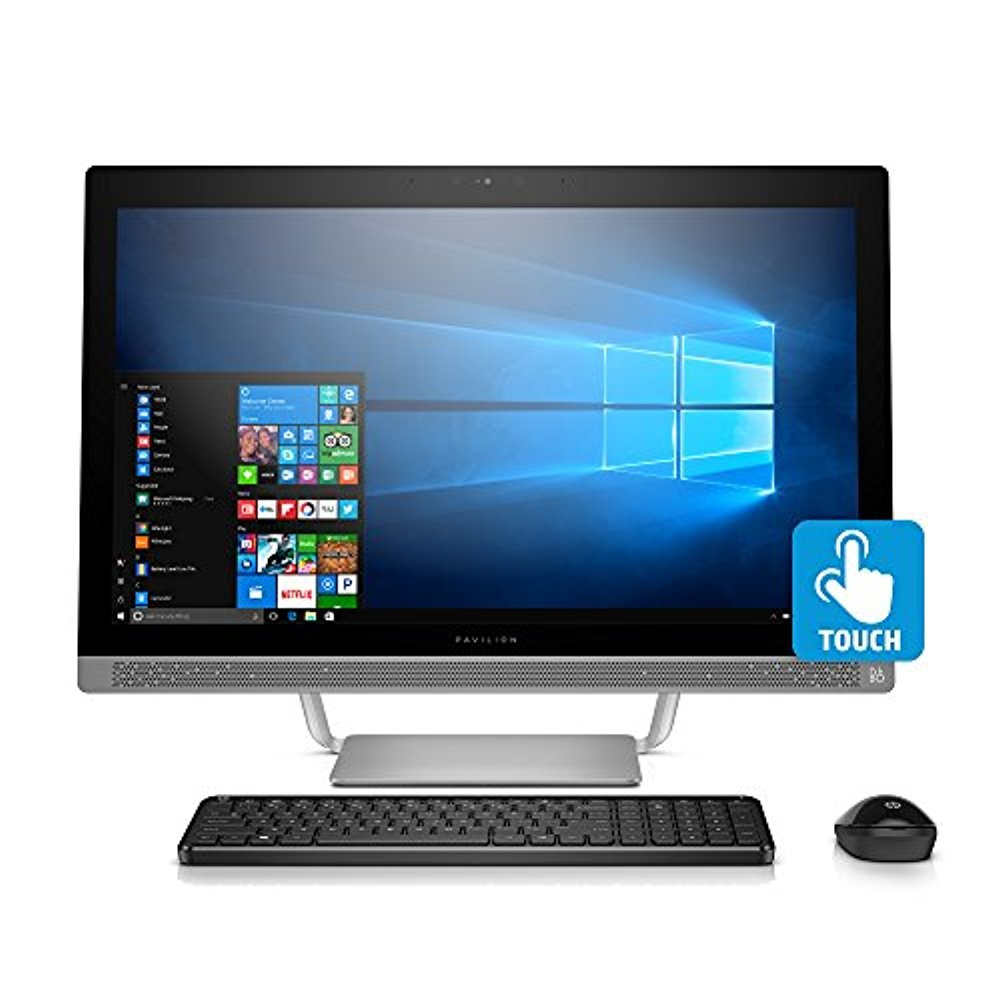 HP Pavilion 27-inch All-in-One Computer, Intel i5-7400T, 12GB RAM, 1TB hard drive, Windows 10, (27-a230, Silver) by HP (Image #1)