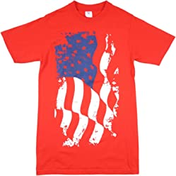 433072a1322 313 Graphic Tees Distressed Waving Flag Men s T-Shirt in Red.