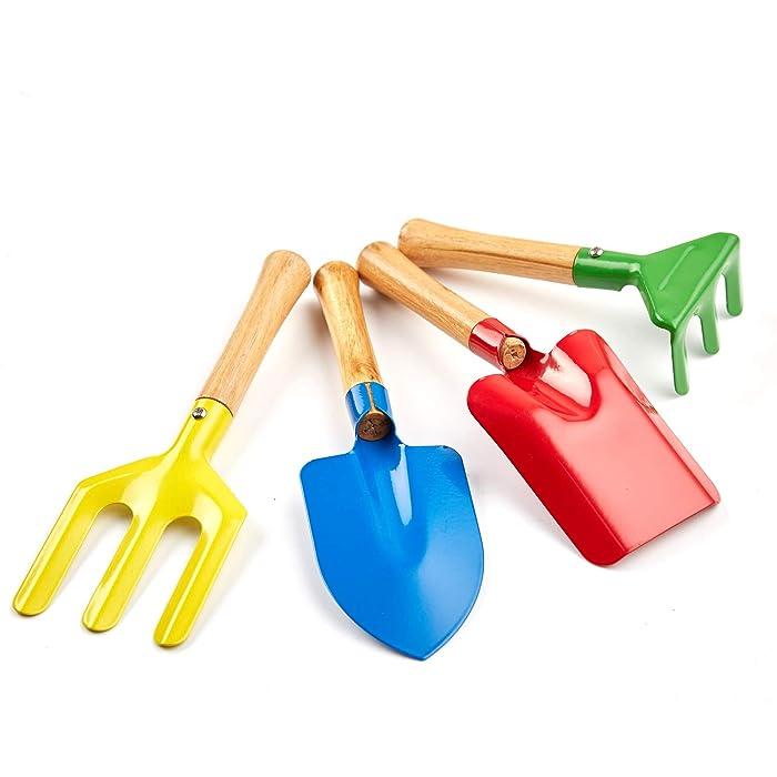 "Futureup 4-Piece Set 8"" Kids Gardening Tools, Made of Metal with Sturdy Wooden Handle, Safe Toy Gardening Equipment Fork, Trowel, Rake & Shovel for Children Beach Sandbox Toy"