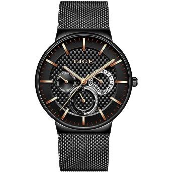 a1b18cf6bb Herren Uhren,LIGE Edelstahl Wasserdicht Sport Analog Quarzuhr Datum  Kalender Business Casual Luxus Kleid Armbanduhr