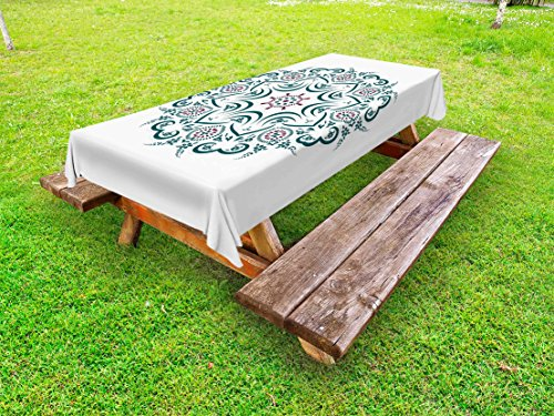 Mandala Outdoor Tablecloth by Lunarable, Authentic Tibetan Temple Figured Stylized Celestial around Unifying Centre Print, Decorative Washable Picnic Table Cloth, 58 X 104 Inches, Green Red (Desk Collection Figured)