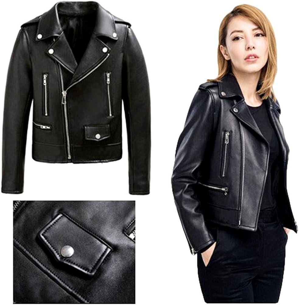 LKOUS Womens Winter Zipper Motorcycle Black PU Leather Bomber Jacket
