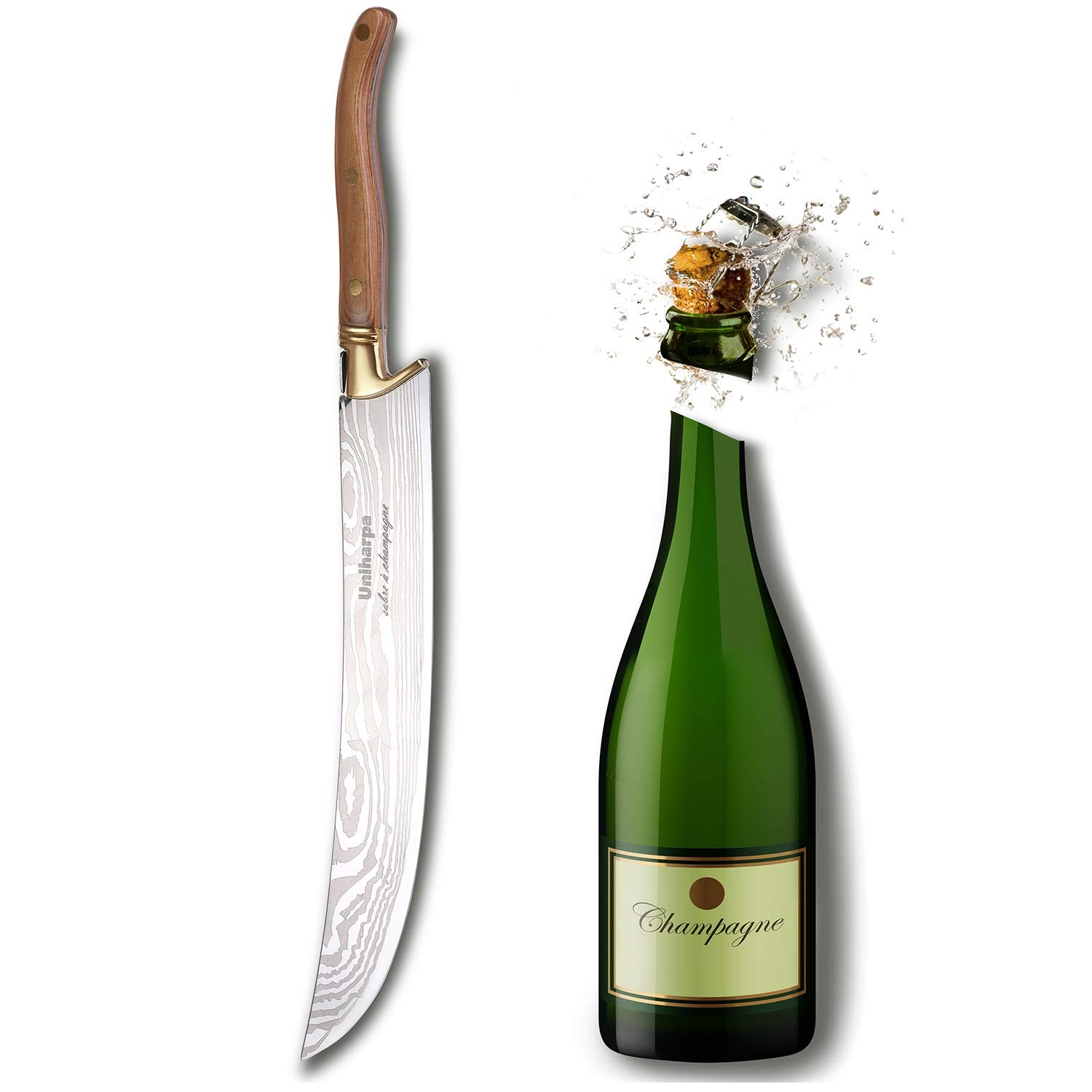 Uniharpa Damascus Japanese Pattern Steel Champagne Saber With Wooden Gift Box Wine Saber Champagne Sword Champagne Opener