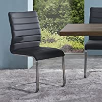 Armen Living LCFUSIGR Fusion Dining Chair Set of 2 in Grey and Brushed Stainless Steel Finish