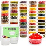 Homemade Refrigerator Pickles HomeNative Leakproof Plastic Food Storage Container with Lid, 8.5 oz., Pack of 50