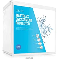 LUCID Encasement Mattress Protector - Completely Surrounds Mattress for Waterproof, Allergen Proof, Bed Bug Proof Protection -15 Year Warranty, California King