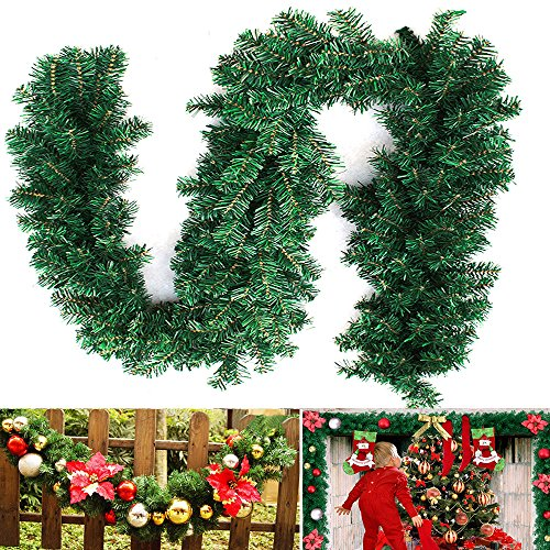 Bennyue Christmas Pine Garland Artificial Pine Needles Branch Canadian Wreath Green Indoor Outdoor Festival Hoilday Xmas Decorations Wall Door Stairs Ornament Hanging 9ft / 2.7M